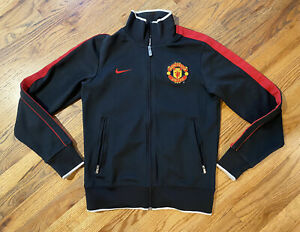 Nike Manchester United Soccer VTG Warm Up Track Jacket Full Zip Size SMALL Black
