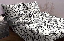 3-tlg Mako ropa de cama satinada Blanco Negro 200 x 200 ¡NUEVO! Diseño Negro,