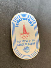 Very Rare Moscow 1980 Olympics Pin Badge Sponsor Partner Intourist USSR Russia