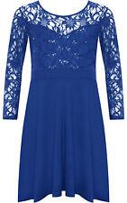 Plus Size Womens Lace Sequin Long Sleeve Ladies Party Skater Dress 14 - 28 Royal Blue 16