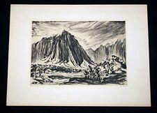 """1943 Hawaii Etching Print """"Haiku Valley, Oahu"""" by Ben Norris (1910-2006)(***)"""