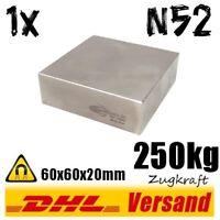 Neodym Magnet 60x60x20mm 6x6x2cm 250kg N52 starker Hochleistungs Permanentmagnet