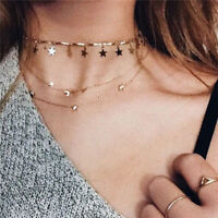 Boho Multilayer Star Moon Pendant Gold Chain Choker Necklace Women Jewelry FOFO