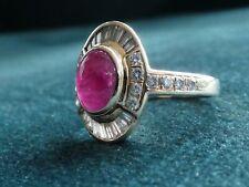 Cabochon Ruby & Diamond 14ct Gold Ring