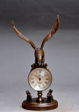Collectible Decorated Old Bronze Carved Eagle Mechanical Table Clock Watches