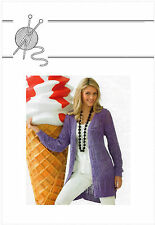 """WOMANS signore lunga Lacy Giacca / cardigan cotone DK 34 """" - 50"""" knitting pattern 99p"""
