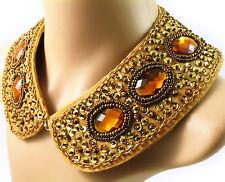 COLLAR NECKLACE handmade WOMEN Rhinestone Crystal GOLD ORANGE BROWN pearl choker