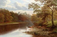 Huge Oil painting cows cattles drinking water by the river in summer landscape