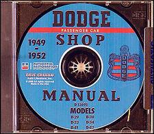 Dodge CD Shop Manual 1949 1950 1951 1952 Wayfarer Meadowbrook Coronet Service