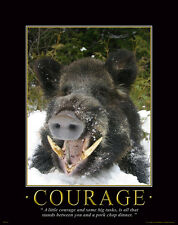 Wild Hog Hunting Motivational Poster Art Dog Supplies Guided Hunt Light  MVP114