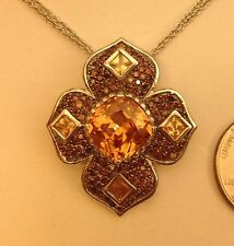 Sterling Silver Fancy Pendant Champagne & Brown Color