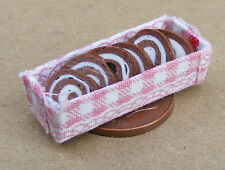 1:12 Scale 6 Swiss Roll Slices Fixed In A Box Dolls House Food Accessory Roulade