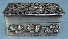 1907 English Sterling Silver Bird & floral Box by William Comyns & Son