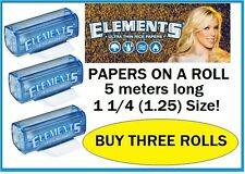 3 ROLLS of slim 1.25 ELEMENTS Rice Thin Cigarette Rolling Paper 1 1/4 on a roll