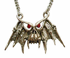Gothic Demon with Red Crystal Eyes Pewter Pendant Necklace NK-548