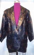 Vtg 80s Black Gold Leather Patchwork Casual Women's Coat Jacket Size Small