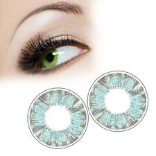 1 Pairs Contact Lenses Dreamy Color Soft Big Eye Cosmetic Lenses Green Clover AD