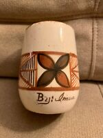 Rare Vintage Kona Hawaii Pottery Cup Beige & Brown Glaze Signed