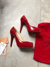 Louboutin 39,5 Uk 6 Red Pattent Rollando Heels, Superb!
