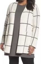 NWT Eileen Fisher Maple Oat Peppered Organic Cotton/Wool Simple Long Jacket 2X