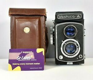 Vintage Yashica A TLR Camera with Brown Case