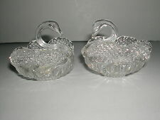 PAIR VINTAGE HAND MADE VENETIAN GLASS SWAN ASHTRAYS ITALY