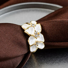 Women Flower Crystal Gold Plated Finger Ring Engagement Band Fashion Jewelry