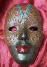 "Solid Brass India Woman Face Painted Mask Mardi Gras Palm 5 1/2"" tall 4 1/4"""