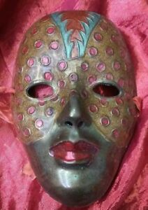 """Solid Brass India Woman Face Painted Mask Mardi Gras Palm 5 1/2"""" tall 4 1/4"""""""