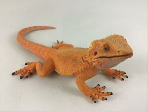 "Orange Bearded Dragon Lizard Reptile 8"" Figure Realistic Scales 2012 Safari Toy"