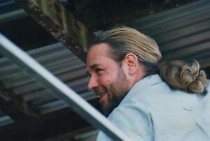 "ORIGINAL RUSSELL CROWE  PHOTO taken in 2002 in Nana Glen with LONG HAIR 8"" x 12"""
