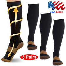 Compression Socks Pain Relief Calf Leg Foot Support Stocking Mens Womens 3 Pairs