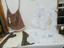 New listing Lot of 4 Vintage Kitchen Aprons – White, Brown and Plaid Patterns