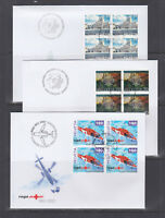 Switzerland Mi 1782/1807, 2002 issues, 5 complete sets in blocks of 4 on 9 FDCs