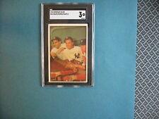MICKEY MANTLE-BAUER-BERRA 1953 BOWMAN COLOR BASEBALL CARD #44 SGC GRADED VG