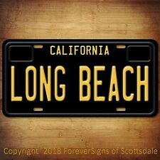 Long Beach California City College Aluminum Vanity License Plate Tag Black New