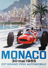Reproduction Vintage Monaco Grand Prix Poster, 30th May 1965, A2