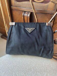 Auth. Prada black nylon and leather clutch, pouch, handbag
