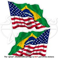 USA United States America-BRAZIL American-Brazilian Flying Flag 12cm x2 Stickers