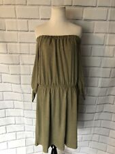 NWT The Vanity Room Off the Shoulder Dress Plus Sz 2X Green French Terry $120