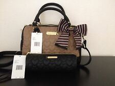 Betsey Johnson Spice Quilted Heart Satchel $88 & Black Pencil Case $42 Authentic