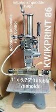 Hot Foil Stamping Machine KWIKPRINT 86 Lightly Used Typeholder 1