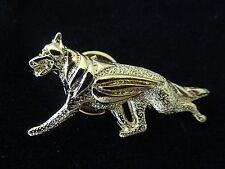 German Shepherd Dog Brooch or Pin -Fashion Jewellery Gold Plated, Stud Back