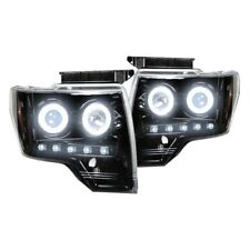 Recon Black/Smoke CCFL Halo Projector Headlights with LED DRL for 09-14 F-150