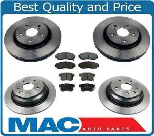 For 10-12 Honda Crosstour Front Wheel Drive Frt & Rr Brake Rotors & Ceramic Pads