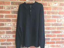 Murano Extra Fine Italian Merino, Black , 100% Merino Wool Polo Sweater L