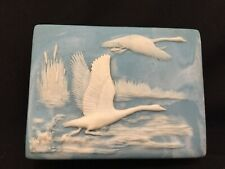 Vintage! Carved Geese Crane Trinket Box Beautiful!