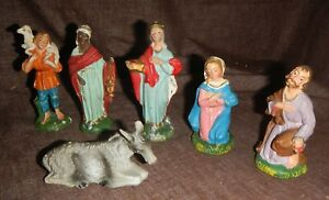 Vintage Nativity Made in Italy Manger Scene Figurines 6 Pieces