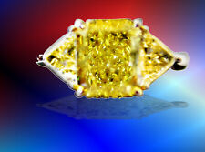 Diamond Radiant Shape Trillion Engagement Gia Certified Fancy Intense Yellow Si1