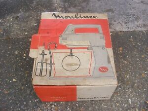 Vintage Moulinex Electric Hand Beater 3 speed with Attachments NOS Unused